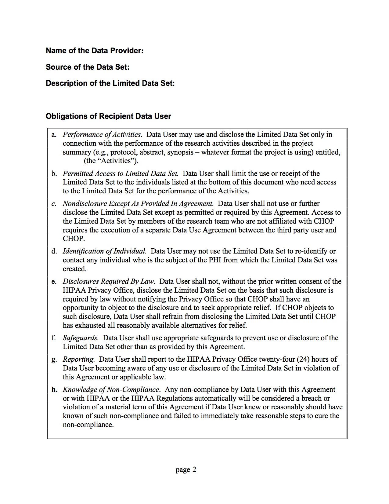 Data Use Agreement - Page 2